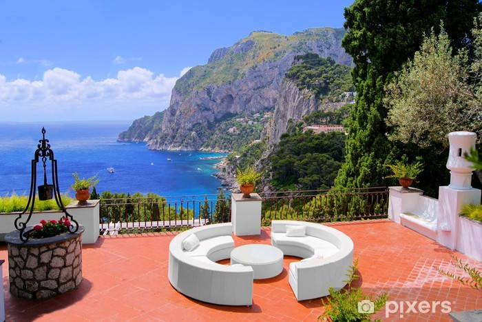 View from a luxurious terrace on the island of Capri, Italy Pixerstick Sticker - Europe