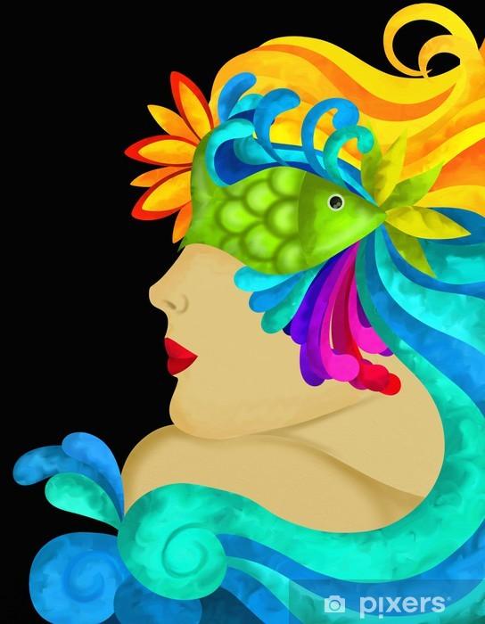 Naklejka Pixerstick Profil kobiety z maską - Rozrywka