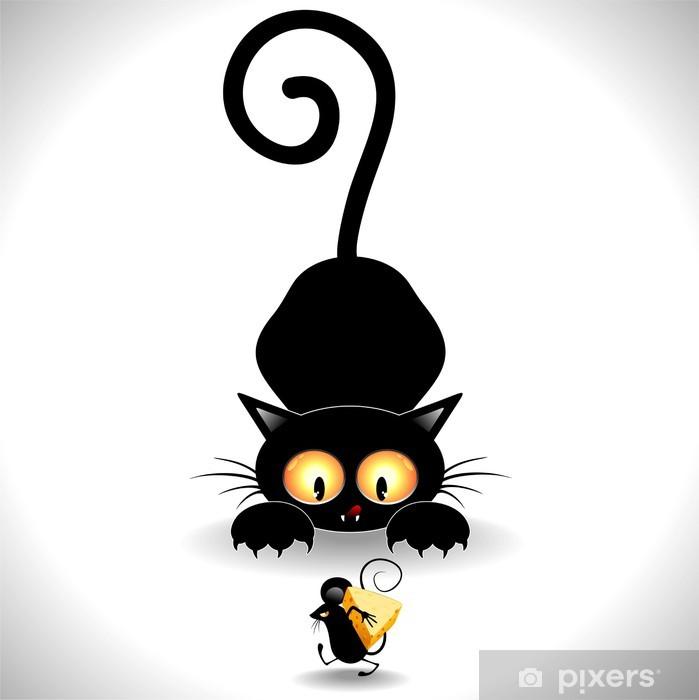 Cat Cartoon in Ambush-Gatto in Agguato e Topolino Clip Art Vinyl Wall Mural - Mammals