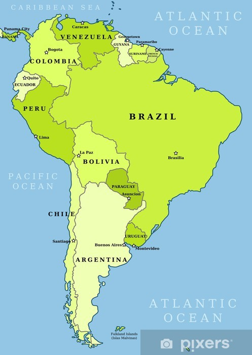 Fotomural Estándar Mapa administrativo América del Sur - Temas