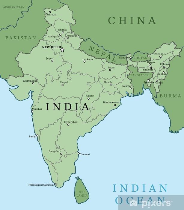 Kort Over Indien Fototapet Pixers Vi Lever For Forandringer