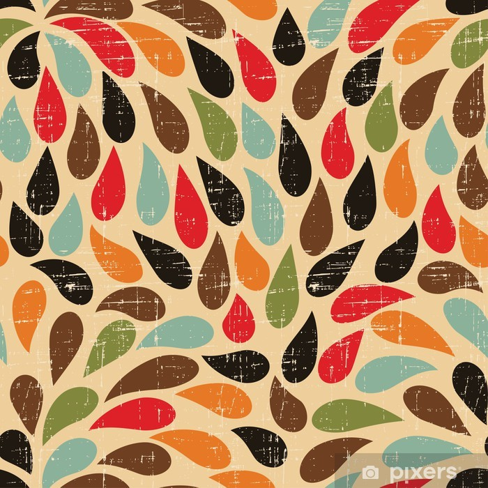 Seamless abstract retro drops pattern. Vinyl Wall Mural - Styles