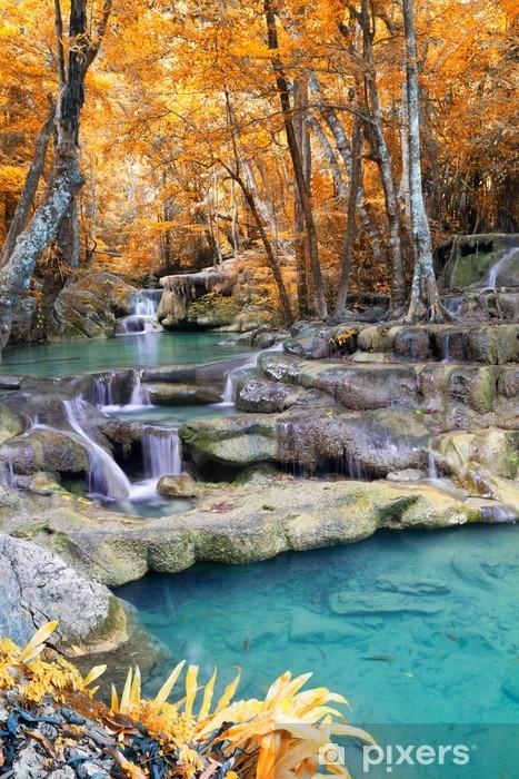 Naklejka Pixerstick Autumn Deep forest Wodospad (Erawan Waterfall) w Tajlandii - Tematy