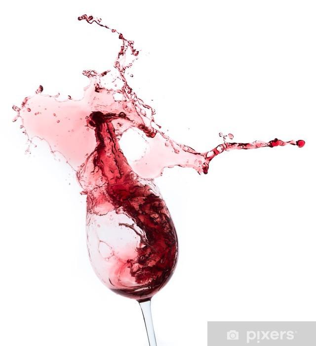 Sticker Pixerstick Éclaboussures de vin rouge dans un verre, isolé sur blanc - Alcool