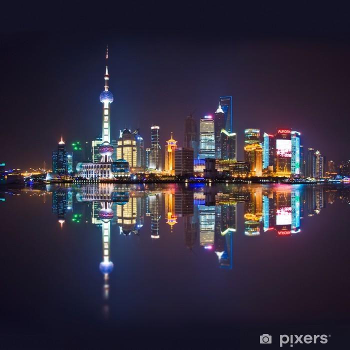Pixerstick Sticker Shanghai skyline, carre - Aziatische steden