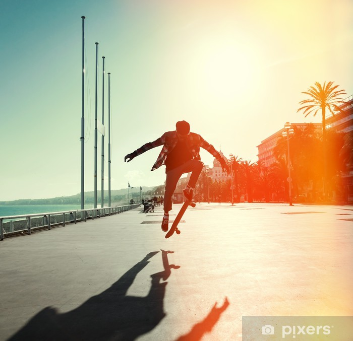 Silhouette of skateboarder Pixerstick Sticker - Skateboarding