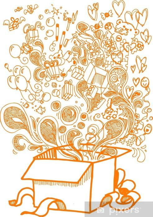 Papier peint vinyle Boîte présente Big plein de jouets, peu précis doodle - Célébrations
