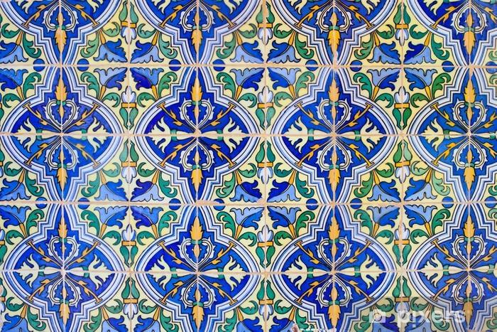 Old Tiles Floral Design Background Vinyl Wall Mural - Backgrounds