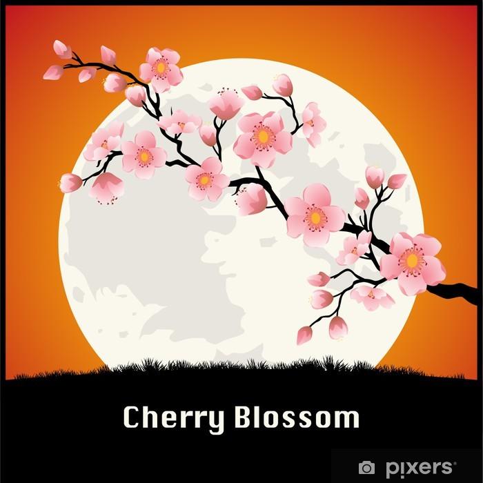 Sticker Pixerstick Belle Cherry blossom branche en face de la Lune - Arrière plans