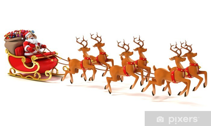 "Christmas Holiday Santa Sleigh Reindeer Pillow Sham 26 x 31.5/"""