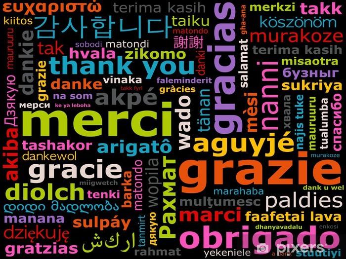 langues étrangères - mot merci dans toutes les langues Pixerstick Sticker - iStaging