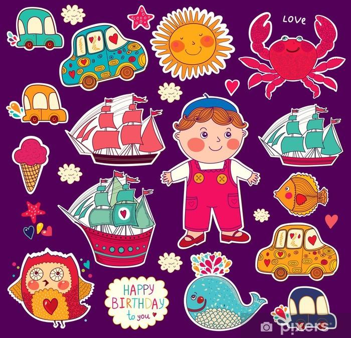 Fototapeta winylowa Wektor zestaw naklejek z kreskówek: chłopiec i zabawki - Przeznaczenia