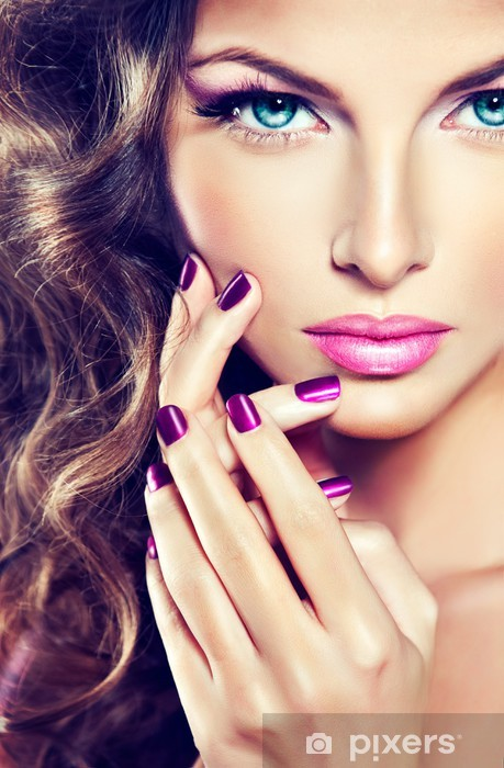 beautiful model with curly hair and purple manicure Vinyl Wall Mural - Fashion