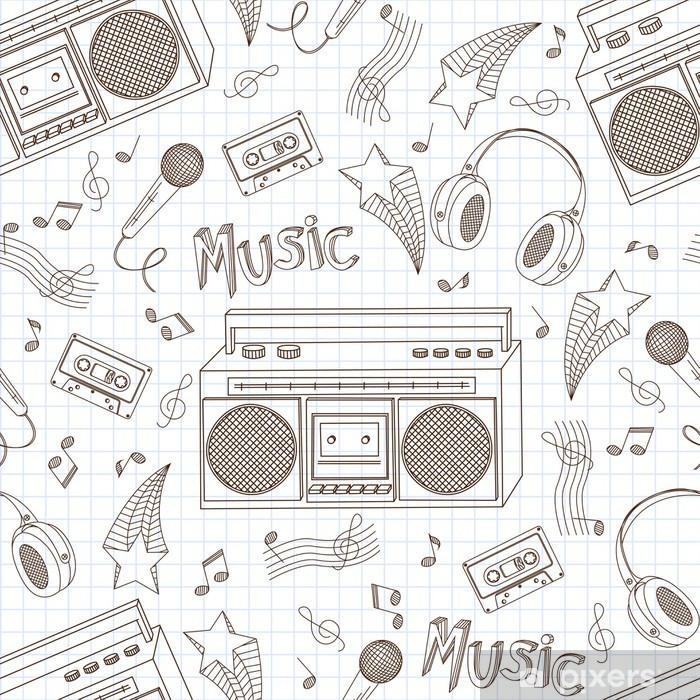 Fototapeta winylowa Retro bez szwu starych magnetofonów - Hip Hop