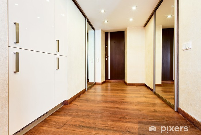 Sticker modern minimalisme stijl corridor interieur met schuifdeur