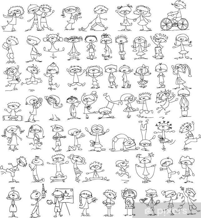 Sticker Pixerstick Ensemble des enfants doodle - Enfants