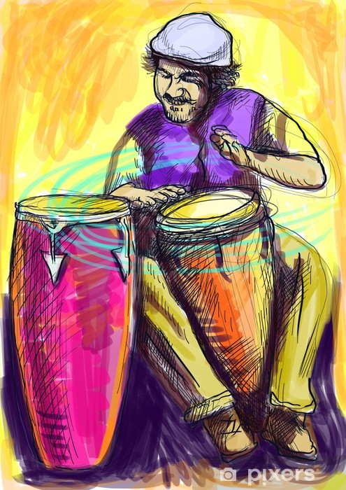 conga player - a hand drawn illustration Vinyl Wall Mural - Entertainment
