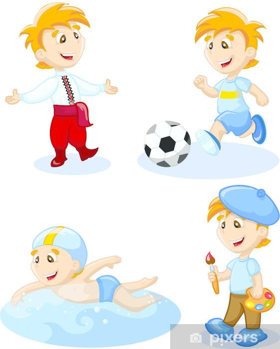 Fototapete Boy Tanzen Schwimmen Zeichnen Fussball Spielen