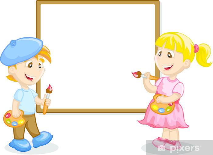 7e94f4167fd8cd Fotobehang Jongen en meisje tekening op de ezel • Pixers® - We leven ...