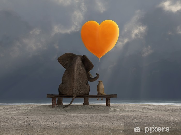 Naklejka Pixerstick Słoń i pies trzyma balon w kształcie serca - Szczęście