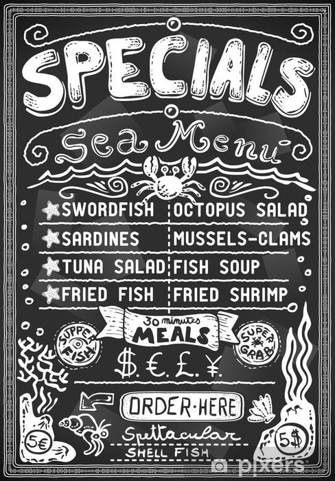 Fototapeta winylowa Rocznika grafiki menu tablica na barze lub restauracji - Owoce morza