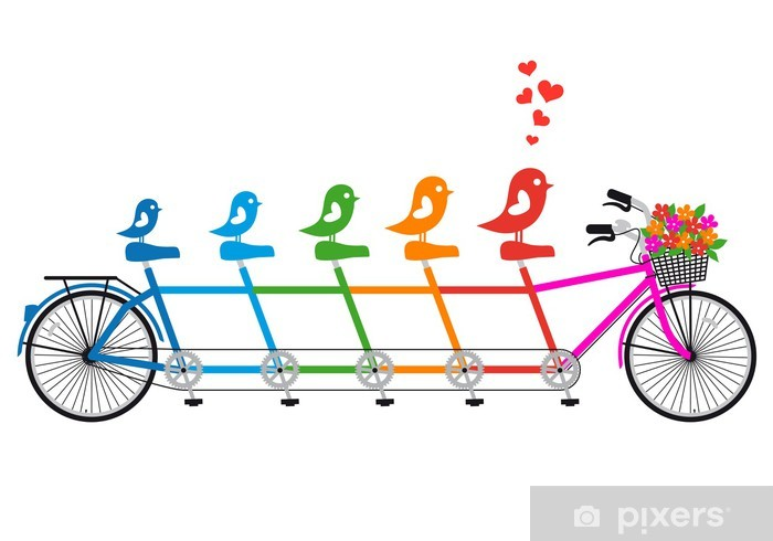 Vinyl-Fototapete Tandem-Fahrrad mit Vogel-Familie, Vektor - Straßenverkehr