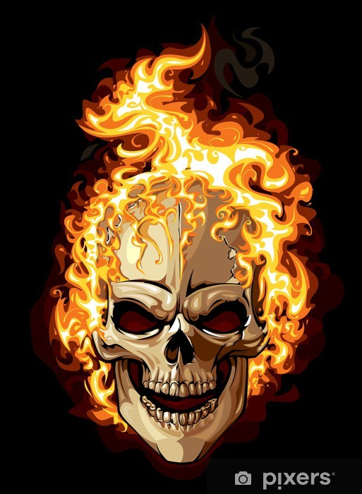 Burning Skull On Black Background Wall Mural Pixers