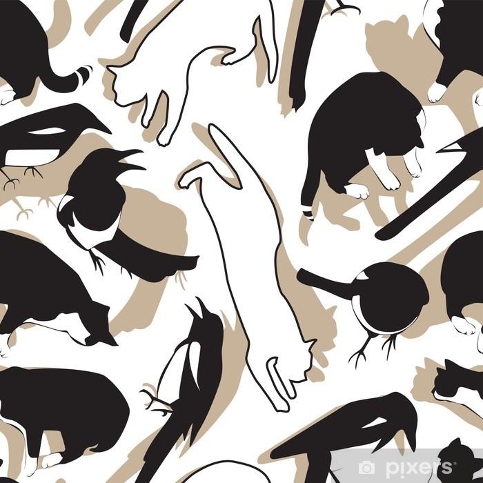 Birds and cats pattern Pixerstick Sticker - Mammals