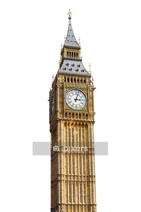 Big Ben Isolated on White background Wall Decal - European Cities