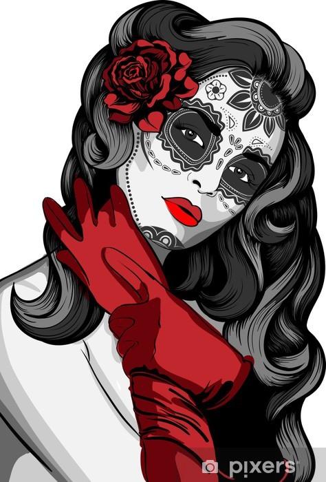 Sticker Pixerstick Madame de crâne avec de la peinture pour la Journée des Morts - Thèmes