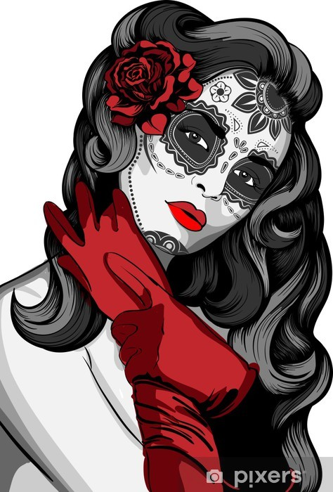Sugar skull lady with paint for Day of the Dead Pixerstick Sticker - Themes