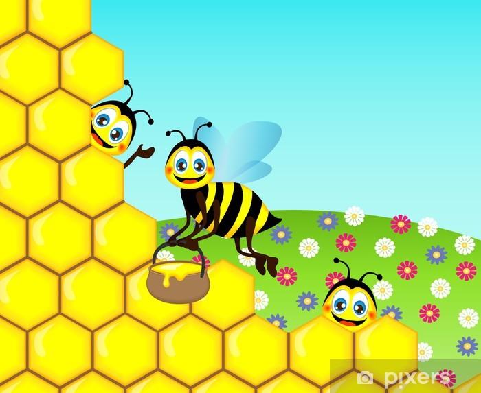 Fototapete Zeichnen Funny Cute Bienen Vektor Illustration Pixers