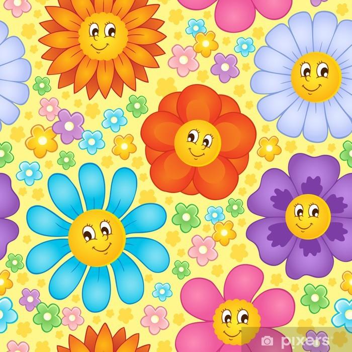 Vinyl-Fototapete Nahtlose Hintergrund Blume Thema 1 - Hintergründe