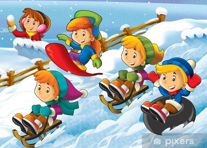 Naklejka Dzieci Zimowe zabawy - ilustracja dla dzieci • Pixers® - Żyjemy by  zmieniać