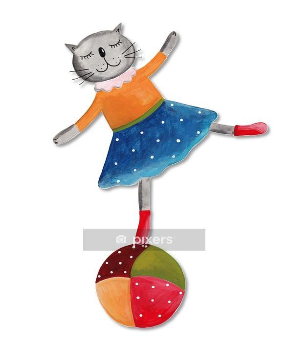 Sticker mural Le chat sur le ballon - Sticker mural