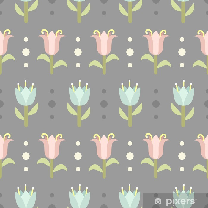 Vinyl-Fototapete Retro nahtlose Muster mit Frühlingsblumen - Stile