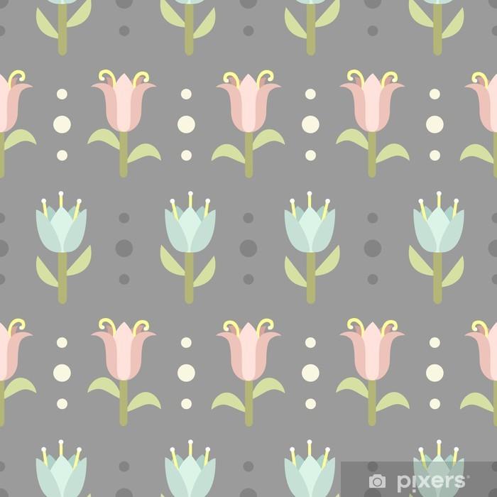 Retro seamless pattern with spring flowers Pixerstick Sticker - Styles
