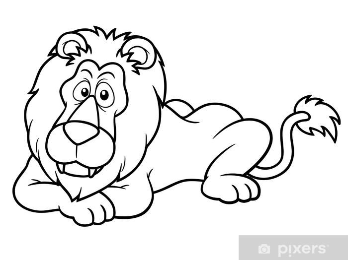 Fotomural Ilustración Del León De Dibujos Animados Libro Para