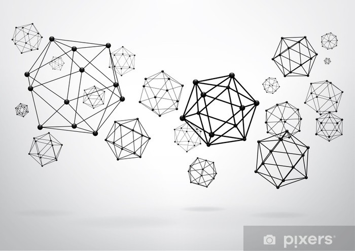 Composition of wireframe elements in the form of icosahedron Vinyl Wall Mural - Themes
