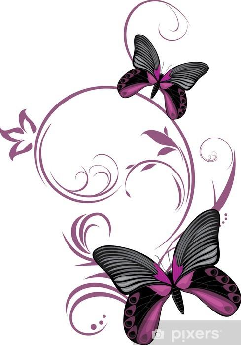 Sticker Pixerstick Papillons avec des brins d'ornement - Saisons