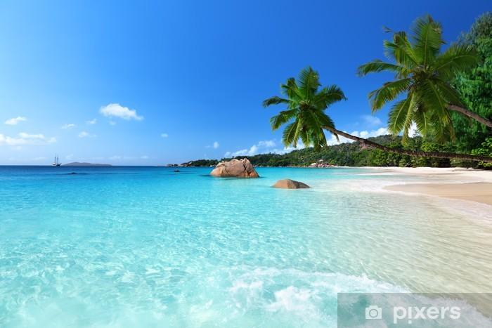 Fotomural Estándar Playa de Anse Lazio en la isla Praslin, Seychelles - Palmeras