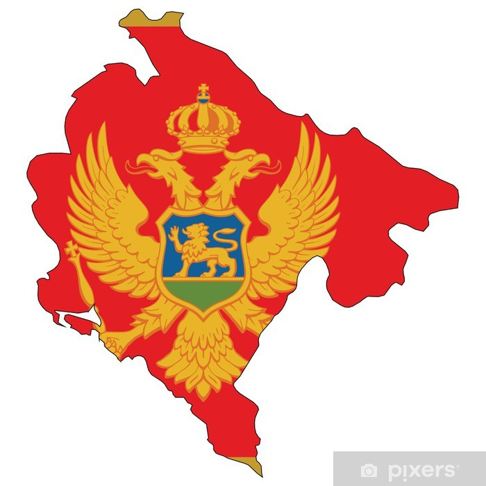 Country outline with the flag of Montenegro Poster - Asian Cities