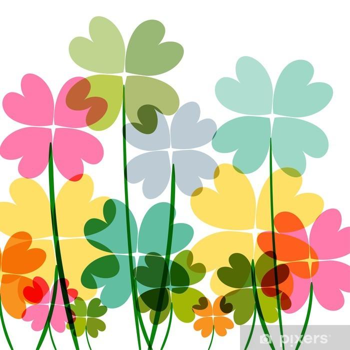 Nálepka Pixerstick Různobarevné květiny transparentnost - Květiny
