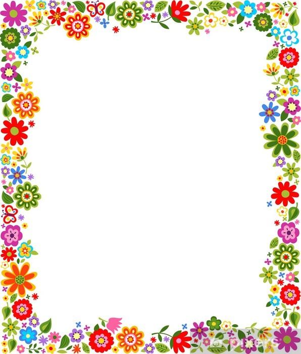 Vinilo Pixerstick Marco floral del patrón de la frontera • Pixers ...