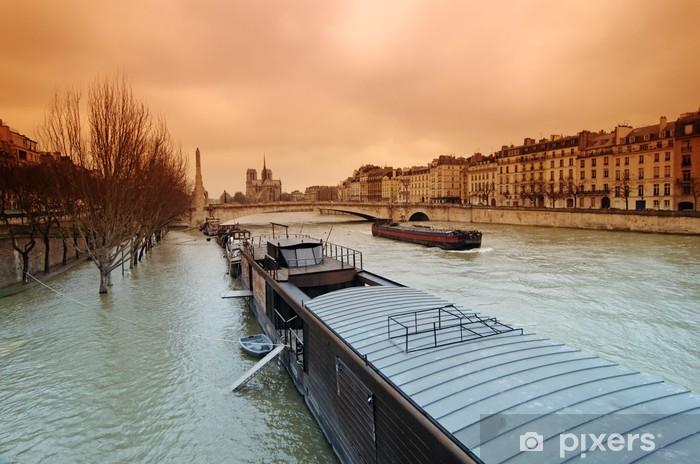 Papier peint vinyle Paris, crue de la Seine - Villes européennes