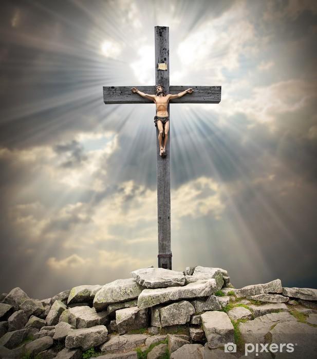 Jesus Christ on The Cross. Pixerstick Sticker - Themes