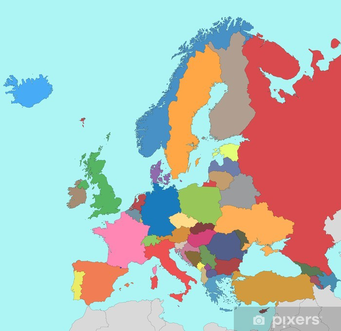 Colorful Map Of Europe Poster Pixers We Live To Change