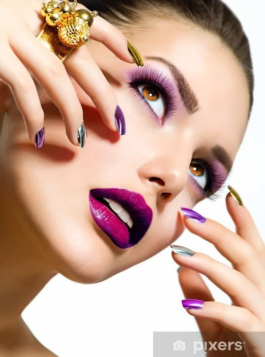 Fashion Beauty. Manicure and Make-up. Nail Art Vinyl Wall Mural - Women