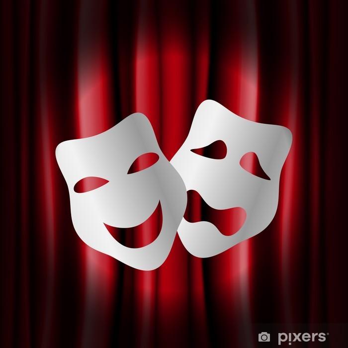 Pixerstick Aufkleber Theater-Masken mit roten Vorhang - Texturen