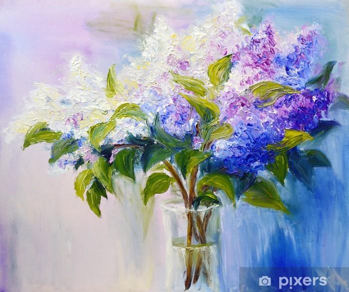 Sticker Pixerstick Lilas dans un vase, peinture à l'huile sur toile - Destin